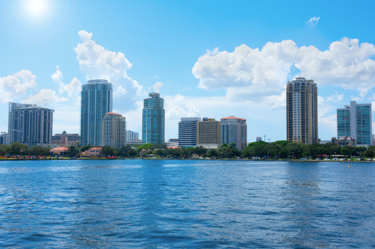 Saint Petersbur, Florida, buildings cityscape along the blue water shoreline of Tampa Bay